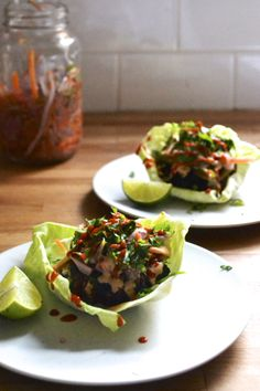 Thai Beef Burger Wraps with Spicy Peanut Dressing