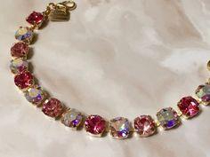 Swarovski Crystal Sparkle Blossom 8mm Multi Pink Tennis Bracelet