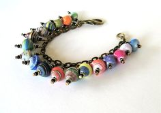 whimsy paper on brass bracelet  75  inch by whimsybeadsmaine, $27.00  Fair Trade Beads, Paper Beads