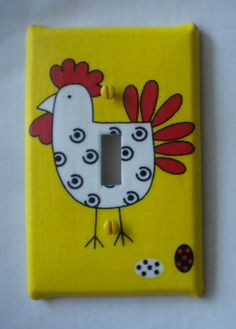 Country Hen Chicken Rooster Light Switch Plate by EcoGirlCreations,