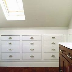 LOVE the drawers built into knee wall