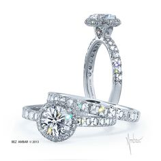 Bez Ambar Light Storm engagement ring is a delicate design that has a center stone enhanced by a pave frame and a v shape head and a shank with Blaze® cut #diamonds. #engagementrings #weddings
