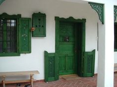 Traditional Hungarian wooden shutters for doors and windows - Flooring Piclodge Cottage Exterior, Interior And Exterior, Cordwood Homes, Transition Flooring, Old Country Houses, Playground Flooring, Wooden Shutters, Wooden House, Cozy Cottage