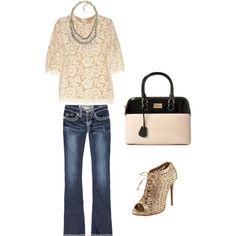 Lace top, jeans, open-toe booties + handbag = too cute