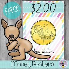 These cute Australian money posters are perfect for helping students identify Australian coins and n Numeracy Activities, Money Activities, Math Resources, Money Bingo, Money Games, Teaching Money, Teaching Math, Teaching Ideas, Classroom Displays