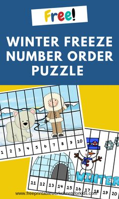 2 printable winter theme puzzles to practice number order from 1 to Picnic Games For Kids, Relay Games For Kids, Games For Little Kids, Card Games For Kids, Puzzle Games For Kids, Free Games For Kids, Puzzles For Kids, Worksheets For Kids, Kids Fun