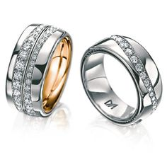Platinum and diamond wedding bands by Meister