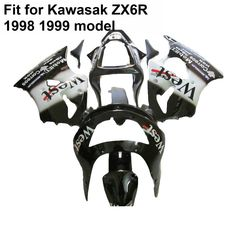335.79$  Buy here  - Bodywork plastic fairings for Kawasaki ninja zx6r 1998 1999 white black fairing kit ZX6R 98 99 IU06