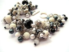 Sparkling Black and White Beaded Charm #Bracelet