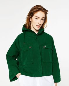610c6cff SHORT COTTON PARKA-OUTERWEAR-WOMAN | ZARA United States Green Jacket, Green  Parka