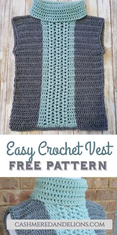 Crochet Vests Free pattern for an easy crochet sweater vest made from two crochet rectangles, featuring a v-puff stitch detail in a contrasting color. Crochet For Kids, Easy Crochet, Knit Crochet, Crochet Hats, Crochet Vest Pattern, Crochet Baby Cardigan, Free Pattern, Crochet Scarves, Crochet Clothes