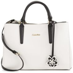 Calvin Klein Saffiano Leather Satchel (140 SGD) ❤ liked on Polyvore featuring bags, handbags, purses, bolsas, man bag, purse satchel, calvin klein handbags, structured handbags and white hand bags