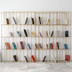 the bronze bookshelf design: eleftherios ambatzis Bookshelf Design, Bookshelves, Shoe Rack, Shelving, Objects, Bronze, Gold, Black, Home Decor