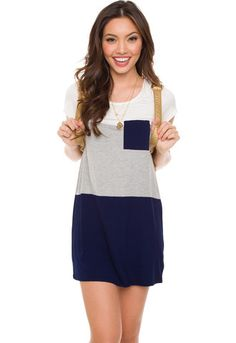 Pia Stripe Dress - Navy