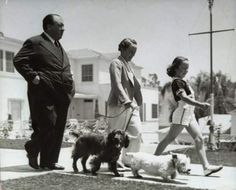 Alfred Hitchcock, wife Alma and daughter Pat walking the dogs in 1939