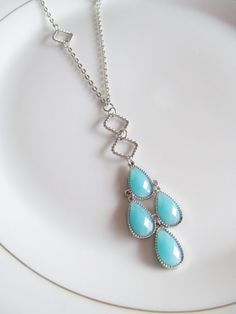 Casual, everyday jewelry: Light Blue Teardrop Necklace - Chandelier Bead Dangle on Long Accented Silver Chain by Katya Valera, $18.00