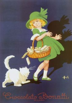 Art Poster: Choccolato Bonatti 1930 French Chocolate Advertising Vintage Poster Art Print - The Zedign House - Store Vintage Italian Posters, Pub Vintage, Vintage Advertising Posters, Poster Vintage, Vintage Cat, Vintage Labels, Vintage Advertisements, Vintage Prints, Retro Posters