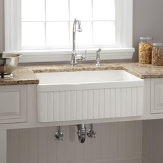 """30""""+Baldwin+Fireclay+Farmhouse+Sink+-+Fluted+Front+-+White"""
