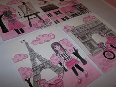 "black and pink Paris wall decor toile parisian art fashion girls nursery art prints 4 8x10"". $22.00, via Etsy."
