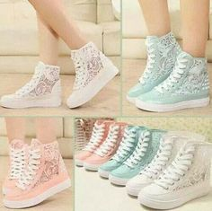 Tenis hermosos Lace Shoes, Lace Converse Shoes, Converse Wedges, Sequin Converse, Cute Converse, Lace Booties, Summer Sneakers, Cute Sneakers, Colorful Sneakers