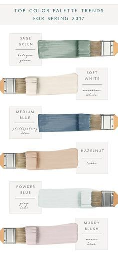 2017 Top Color Palette: Sage Green: Sherwin Williams Halcyon Green SW 6213. Soft White:Benjamin Moore Maritime White BM963. Medium Navy Blue: Benjamin Moore Philipsburg Blue BM-159. Hazelnut: Sherwin Williams Latte SW-6108. Powder Blue: Benjamin Moore Gray Lake BM-2138-70.