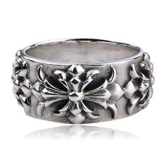 925 Sterling Silver Crosses Relief Punk Antique Ring Gift for Men - Zivpin