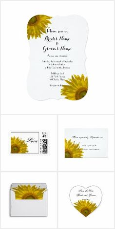 Chic Sunflowers WEDDING SET COLLECTION Pretty Personalized Floral Flowers Sunflower Wedding Stationery Products Labels Stickers Postage Stamps Envelopes RSVP Thank You Cards & More!