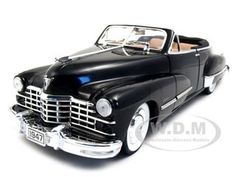 1947 Cadillac Series 62 Diecast Car Model 1/18 Convertible Black Die Cast Car By Anson