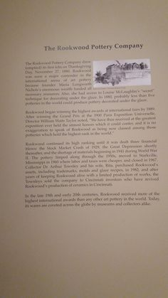 This description shows how the Rookwood Pottery Company was established in Cincinnati.