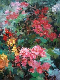 Begonia Blooms  oil painting    Mary Maxam