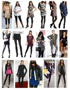 How to Wear Leggings:: long blouse/short dress/ doll shoes or sandals