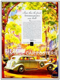 Vintage Auto Poster  1934 STUDEBAKER  by southcoaststudio on Etsy, $12.00
