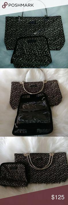 A Kate Spade hand purse Leopard pattern brass handled Kate Spade hand purse with makeup bag kate spade Bags Mini Bags