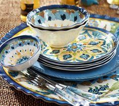 Cabo Melamine Dinnerware, Set of 4 - Blue   Pottery Barn