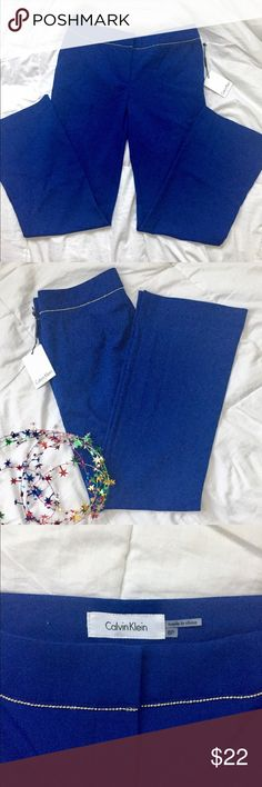 NWT CALVIN KLEIN blue pants 6p Calvin Klein pants  Color: Lapis  Size: 6p Cute silver trim at the belt line, two pockets Inseam about 29 inches  Laying flat hip to hip is about 15 inches   Rise: 8.5 Shell 62% polyester 35% rayon 3% spandex   Lining: 100% polyester.  NTW Calvin Klein Pants