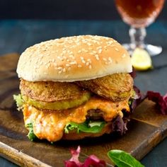 Pimento Cheese burger with Fried Green Tomatoes #foodgawker