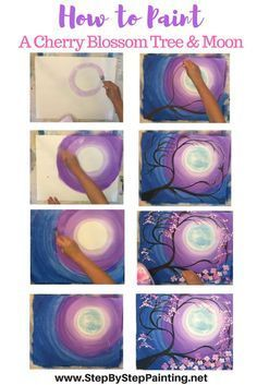 How to Paint A Cherry Blossom Tree & Moon Step by step painting tutorials by Tracie Kiernan