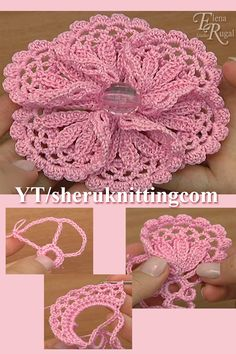 In todays tutorial, I will be making this beautiful crochet flower that can be used as an embellishment or as a part of Irish, Guipure of Lace projects. In the master class we use 100 cotton yarn the meterage is 169 meters in 50 grams. Hook mm or 2 mm. Crochet Flower Tutorial, Crochet Flower Patterns, Crochet Stitches Patterns, Crochet Flowers, Fabric Flowers, Freeform Crochet, Crochet Motif, Irish Crochet, Crochet Leaves
