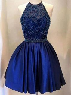 Halter backless Royal Blue Beaded homecoming prom dresses, CM0026
