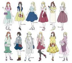 Bad case of same face syndrome Disney Princess Outfits, Disney Princess Drawings, Disney Girls, Disney Drawings, Disney Outfits, Disney Art, Modern Princess Outfits, Disney Princess Cosplay, Moderne Outfits