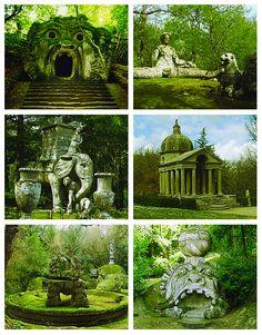 The Parco dei Mostri, also known as the Garden of Bomarzo or Sacro. Created during the 16th Century. Bosco, Italy.