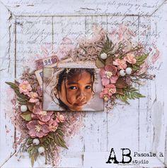 Scrap Made in Touraine: Smile - Lindy's Gang and A.B. Studio Blog Hop Scrapbooking Layouts, Scrapbook Paper, Hibiscus Rose, Rose Orange, Memory Album, Stamp, Making Memories, Mixed Media, Floral Wreath