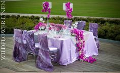 Paillettes Lavender and Matte Satin Lavender Underlay; Juliet and Julietta Lavender Chair Sleeves; Matte Satin Lavender Chair Pad Covers