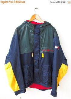 Vintage TOMMY Hilfiger Neon Green Hip Hop Snowbeach Streetwear Trainer Hoodie Breaker Jacket 90s Size M Tag reads: M (check measurements