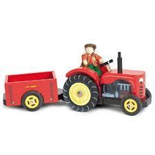 Le toy Van Berties Tractor- The perfect wooden tractor for every farm adventure! The fantastic Bertie's Tractor from Le Toy Van is painted a shiny red & comes with its own detachable tractor. It has beautifully painted details to make this a high Van Kitchen, Kitchen Sets, Benne, Red Tractor, Van Design, Farm Toys, Down On The Farm, Farm Yard, Imaginative Play