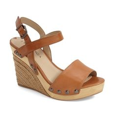 """Via Spiga 'Wallis' Wedge Sandal, 4"""" heel ($135) ❤ liked on Polyvore featuring shoes, sandals, tan, strappy platform sandals, ankle strap sandals, tan strappy sandals, leather platform sandals and leather strap sandals"""