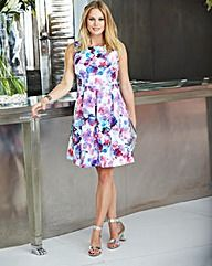 Floral Scuba Sleeveless Skater Dress
