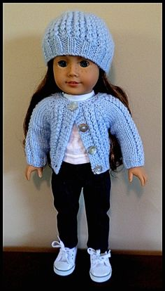 American Girl Doll Clothes :Hand knitted cardigan sweater and hat. An original design by AUSSIEKNITWIT, $18.00