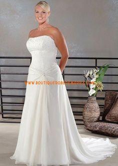 Robe de mariée simple à bustier en mousseline