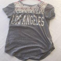cute t shirt chilling grey n lace Los  Angels  shirt dehilas  Tops Tees - Short Sleeve